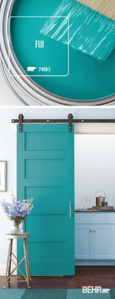 Kick back and relax with the ocean blue hue of the Fiji, by Behr Paint. The perfect accent color for every neutral design scheme, this bright shade of turquoise turns this sliding barn door into a bold accent piece for this kitchen. Click below to find more home decor inspiration.
