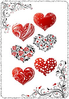 Flourish border and hearts