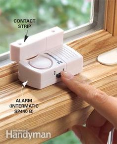 """Keeping doors & windows locked is 1st line of defense. Make wireless alarms your 2nd. The alarms are activated by doors or windows opening. Burglars hate noises, so even a small alarm usually sends them running. The alarms are available at home centers ($20-door alarms; $7-window). Or check out Intermatic at intermatic.com or Door & Window Alarms at doorandwindowalams.com. Use alarms for doors & windows in """"hidden"""" areas of the house where you don't normally gather and that are often dark."""