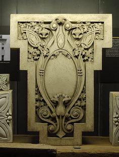 City Museum, in Saint Louis, Missouri, USA - Sullivanesque stonework Architectural Sculpture, Architectural Salvage, Architectural Drawings, Louis Sullivan, Flourish Border, City Museum, Chicago Style, Elements Of Design, Scores
