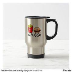 Fast Food on the Run! Travel Mug Travel Mug, Cool Designs, Yummy Food, Mugs, Tableware, Dinnerware, Delicious Food, Tumblers, Tablewares