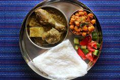 Ruchik Randhap (Delicious Cooking): Mangalorean Plated Meal Series - Boshi# 17 - Chicken Green Curry, Chana Sukka, Salad & Neer Dosa
