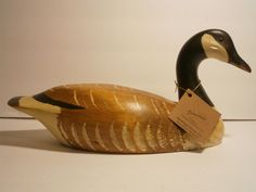 Jennings Decoy Co. Hand Carved Painted Goose Decoy Signed Stamped Molson Brewery