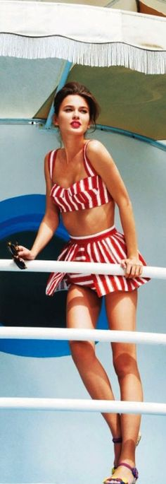 Red White Stripes Swimsuit Bathing Suit photography