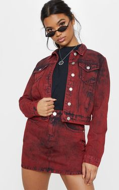 Acid Red Denim Jacket Make a bold statement in this acid wash denim jacket. Featuring a red acid . Red Denim Jacket, Acid Wash Denim Jacket, Denim Jackets, Couture Looks, Denim Button Down, Off Black, Two Piece Outfit, Distressed Denim, Outfits