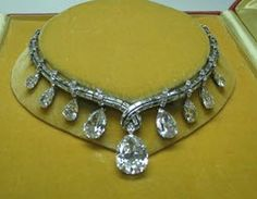 Bulgari Circa 1950 Important Diamond Necklace,includes seven large Pear shaped Diamonds certified by G.I.A., the largest 20Ct. D-VS2,followed by 7.13  http://www.zeexchange.com/Shopping/Products/Necklaces/Diamond/Bulgari-Circa-1950-Important-Diamond-Necklace-Sku00p002001ut.html