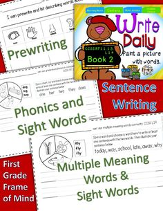 $+Sentences +Writing +Spinners +Phonics short vowels o, e, u; sh, th, L blends +Sight words one, her, two, they, does, who, some, of, no, eat, into, live, out, many, make, three, under, show, put, want, today, why, away, late, school, way +Multiple meanin