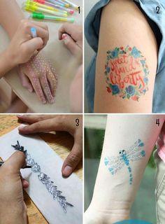 tatuajes temporales para niños para el verano Print Tattoos, Watercolor Tattoo, Tattoos Children, Stick Poke Tattoo, Awesome Tattoos, Activities For Kids, Summer Time, Temp Tattoo