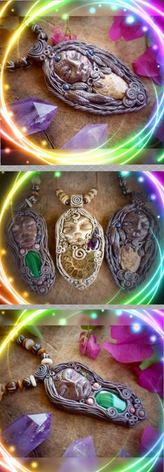The 3 Wise 1's, Clay healing crystal pendants, #earthandsurfjewelry