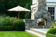 images of two sided outdoor fireplaces | double sided garden fireplace james doyle design greenwich ct