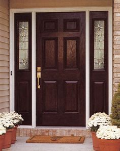 This prehung single entry door with 2 sidelights has a mahogany wood texture over a durable and insulated fiberglass interior. Description from discountdw.com. I searched for this on bing.com/images