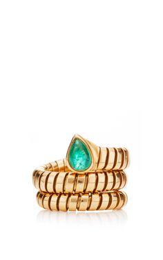 18k yellow gold and peridot vintage bulgari tubogas ring by portero for preorder on moda operandi