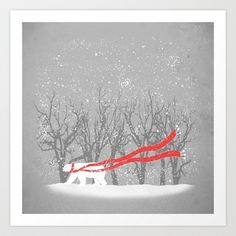 The Red Scarf Art Print by Zach Terrell - $16.00
