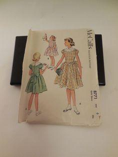 Vintage McCall's Printed Pattern #8771 Girls' Dress Size 6  ---1951 copyright