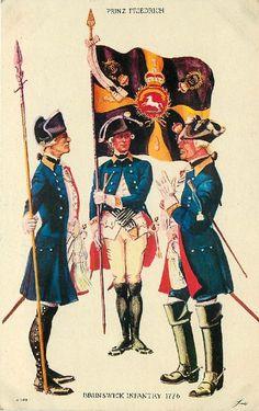 Brunswick Infantry 1776 Brunswick Infantry Regt. Prinz Friedrich, 1776 (Lt. Colonel Praetorius, Color Bearer, Company Officer, and Field Officer) - rare postcard