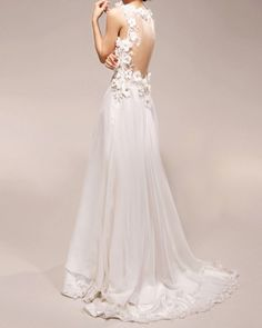 Vintage Wedding Dress A LINE Bridal Gown with Lace Flowers Deep V Neck Chiffon Evening Prom Dress-