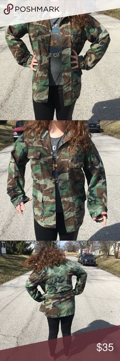 🆕List! Authentic BDU Camo Jacket! EUC! Authentic winter BDU jacket with insignia patches! I believe this one is a bit older than my issued stock. Size is unreadable but I'm guessing medium to large - will measure soon. No signs of damage at 1st look. Winter issue top. Last photo (with my mother) shows size small new, located in another listing in my closet. Army Jackets & Coats Military & Field
