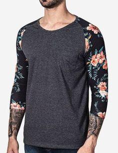 1-T-SHIRT-3-4-PETIT-MANGA LONGA-FLORAL-100647.  Nova Tendência na moda masculina.