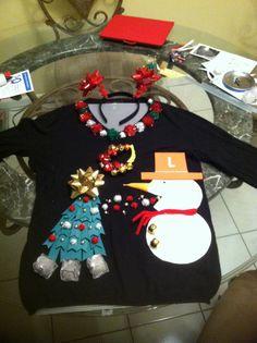 Ugly Christmas sweater with headband!!