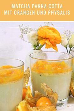 Cremige Matcha Panna cotta mit herb-süßem Orangen-Physalis-Ragout