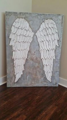 Unique Angel Wings, Shabby Chic, White, Silver, Large, Metal, Upcycled  ZD68