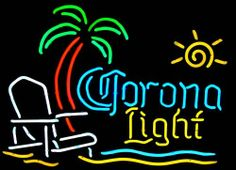 neon beach signs | Corona Beach Chair and Palm Tree Neon Beer Signs