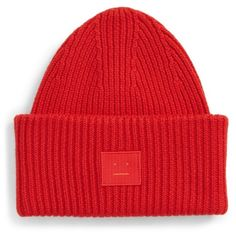 Women's Acne Studios Pansy Rib Knit Beanie ($150) ❤ liked on Polyvore featuring accessories, hats, red, red beanie, lined hat, beanie cap hat, ribbed beanie hat and lined beanie hat
