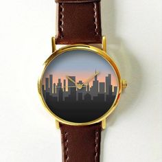 Cityscape on Dusk Watch,Vintage Style Leather Watch, Women Watches,Unisex Watch,Boyfriend Watch,Men's Watch,
