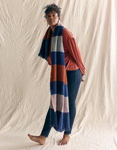 5e3ad90920c madewell sandwashed gathered-sleeve top worn with multi-stripe scarf +  curvy high-