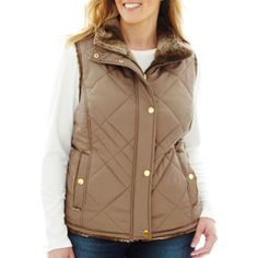 KC Collections Quilted Reversible Faux-Fur Vest - Plus  found at @JCPenney