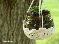 CROCHET PATTERN Mini Jar Basket Hangers Yarn Gardening