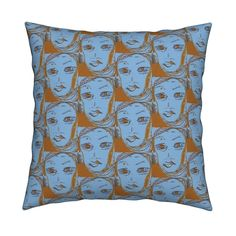 When Women March SeriesBlue Square Pillow by menny | Roostery Home Decor