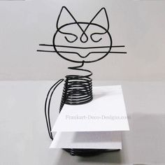 """Sitting Cat large Eames-style desk letter sorter or business card holder. He looks like he's almost smiling :) 7"""" tall."""