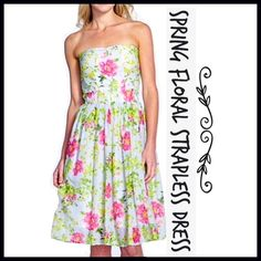 """Floral Print Strapless Dress Kaya & Sloane- Pretty springtime blooms pattern a darling cotton-voile dress with a flirty strapless neckline and a wide elastic waist that accentuates the feminine flared skirt. - 35"""" center front length (size Medium) - Side zip closure - Cotton lining - 100% cotton Kaya & Sloane Dresses Strapless"""