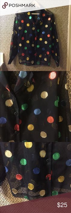 Vintage Sheer Black Metallic Polka Dot Top Pre-loved, label and size is missing. Has signs of wear but lots of life left! Measures 17 inches from armpit to armpit,  and 26 inches in length. Tops Blouses