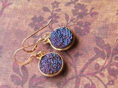 Purple druzy earrings, drusy earrings, druzy dangle earrings, gold earrings