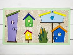 This double page for our custom quiet book is a great educational toy. While seating felt birds in the birdhouses, your baby will easily master the differences in sizes, learn that large bird can't fit in a small house and large house easily accommodates several small birds. All the