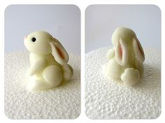 Here's an adorable cake decorating tutorial(English translation) with a super cute bunny sculpt that would totally work for polymer clay. Use similar coloured and shaped pieces of clay to mak… - Crafts Are Fun Fimo Clay, Polymer Clay Projects, Polymer Clay Charms, Polymer Clay Creations, Clay Crafts, Polymer Clay Figures, Polymer Clay Sculptures, Fondant Animals, Clay Animals