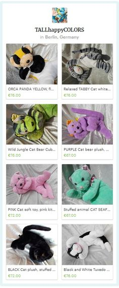 Handmade CATS stuffed animals  - custom memory cat from photo with individual markings - colorful cats soft toy or Home decor - unique kitten plush ooak handmade by TALLhappyCOLORS #cats #lovemycat #kitten #memoryanimal #memorycat #remembrance #keepsake #custompet #petfromphoto #fromphoto
