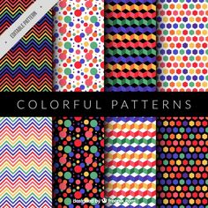 Collection of colorful and modern pattern Free Vector