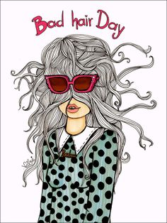 Bad Hair Day Print - Artwork for Bad Hair Emergencies - For Girls Only – Valfré