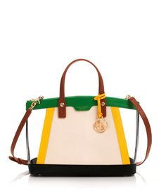 "West 57th Color Blocked Satchel | Henri Bendel  The West 57th Color Blocked Satchel is a stylish designer handbag with plenty of room for all of your essentials. Featuring a spacious interior with multiple pockets, this luxury handbag is an essential accessory for the Bendel Girl on the go. Saffiano leather with PVC blocking Full zip closure Cellphone and PDA pockets Interior zippered pocket and pouch Henri Bendel custom hardware and feet Satin lining Dimensions: 9""H x 13.5""W x 7""D"
