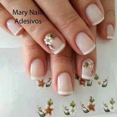 Uñas Flower Nail Art, French Nails, Nail Colors, Nail Designs, Make Up, Baroque, Nail Hacks, Toenails Painted, Perfect Nails