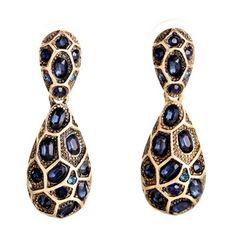 Leopard Bohemian Design Blue Sapphire Simulated Drop Earrings - mytruecolors - 1