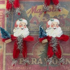 Six Vintage Style Christmas Santa Chenille Ornaments - Retro - Vintage Santa - Christmas Christmas Craft Fair, Christmas Makes, Very Merry Christmas, Santa Christmas, Vintage Christmas, Fun Crafts, Christmas Crafts, Christmas 2019, Christmas Ideas