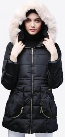 Fur-Hooded Short Puffer Down Coat in Black