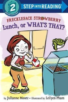 ER MOO. Freckleface Strawberry and Windy Pants Patrick are wary of the school lunch.