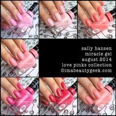 sally hansen miracle gel swatches love pinks collection