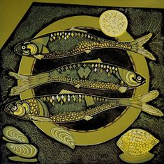 """Fish and Lemons"" reduction linocut by Cathy King, 2012,, 30cm x 30cm £95"