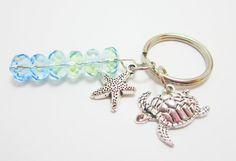 Sea Turtle Keychain with Starfish Charm and by WhispySnowAngel, $9.95